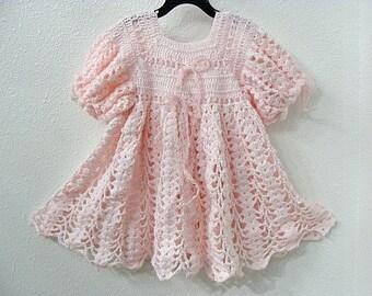 Hand Crochet Dress Delicate Pink