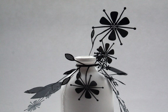 Metal foliage on English fine bone china bottle