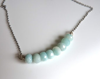 Mint Seafoam Aqua Amazonite Beaded Rondelle Silver Necklace.  Modern Trendy Holiday Gifts For Her.