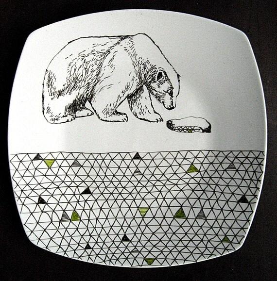 Polar Bear Geometric Design Hand Illustrated Decorative Plate