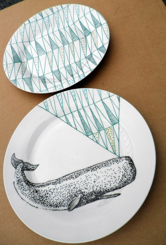 Sperm Whale Geometric Design Plates hand illustrated porcelain