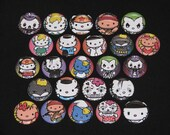 24 Super Cute Kitty in Costumes Flatback or Pinback buttons 1 inch (Set 2)