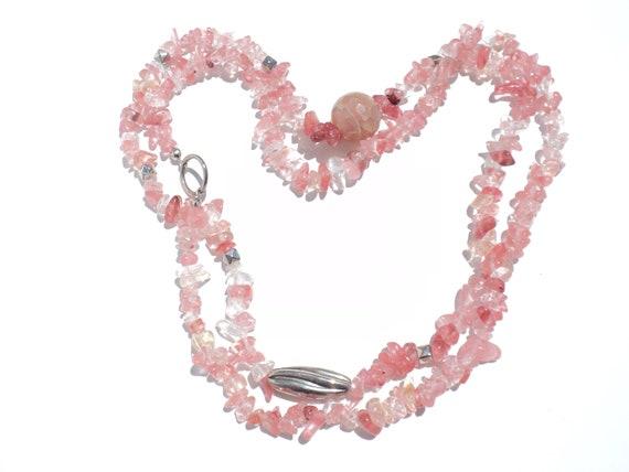 Natural stone necklace,Rose quartz necklace,metal bead pink necklace, gift necklace, love necklace,summer necklace,handmade necklace