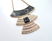 Black and Gold Bib Necklace - Egyptian Style