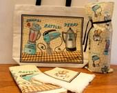 KITCHEN SET - FUNKY 50's - Wine Bag, Dish Towel, Napkins, Tote Bag