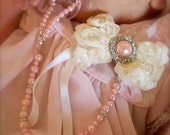 "Baby Boutique 2"" Ivory Chiffon Flower with Pink Pearl 4-in-1 Beaded Pacifier Holder"