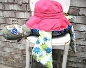 Turtle scrap creature, plush turtle, sea turtle, handmade, ooak recycled materials eco friendly,large plush