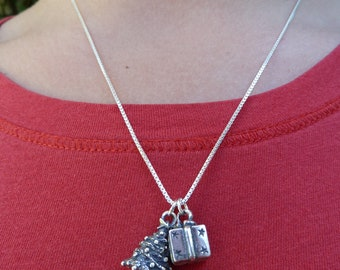 Sterling Silver Christmas Tree and Present Necklace