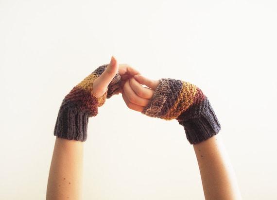 "Multicolor knit women fingerless gloves ""Astral twins"", wrist warmers, hand warmers, mittens"