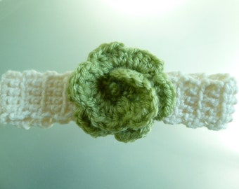 0-3 months crocheted headband-cream and sage-Free shipping