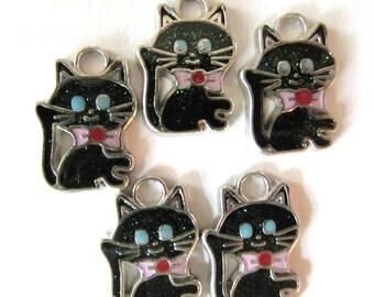 4 pcs Enamel PRETTY KITTY CAT Charm Pendants