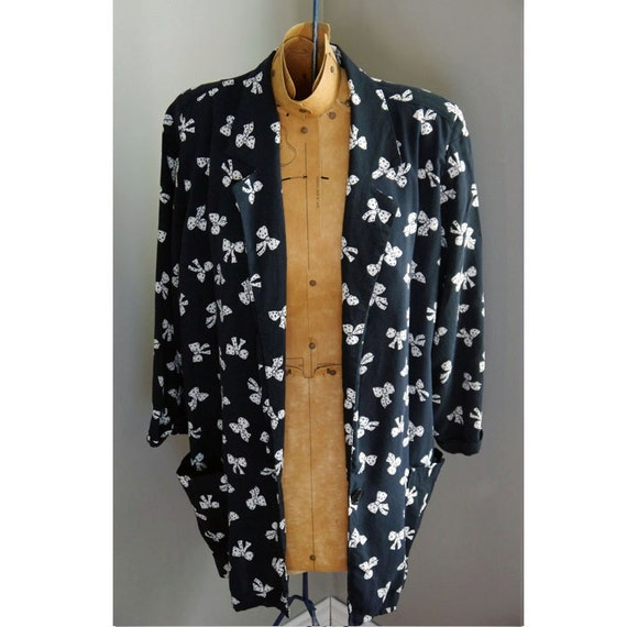 ON HOLD for Lisa B.  // 1970s Bow Tie Blazer // Navy Blue // Novelty
