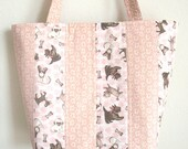 Pink Quilted tote bag toy DOGS patchwork STRIPE purse 10% off pug Chihuahua poodle