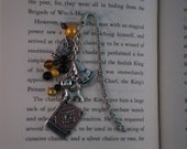 Harry Potter themed beaded bookmark with silver charms - Hufflepuff