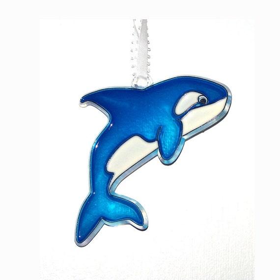 Ornament- Whale - Acrylic - Blue - White - Handpainted Home Decor