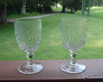 One Jeanette Glass Co.  Iris and Herringbone water goblet