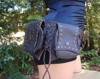 6 Pockets Brown Leather Utility Burner Belt hip size 33-42