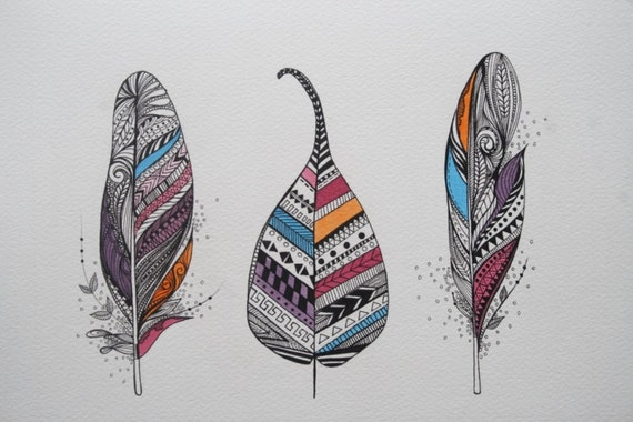 Aztec Feathers and Leaf. Original Artwork. Ink and Water Colors