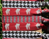 7 Pack Red Gray HOUNDSTOOTH chevron Print Elephant Crimson White Hair Ties Stretch Fold Over Elastic FOE Pony Tail