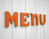 """Shabby chic Wooden Letters """"menu"""" Kitchen Sign Wall Decor"""