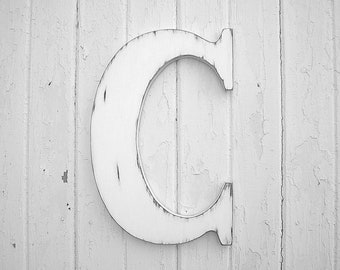 Distressed Wooden Wall Hanging Letter C White Initial
