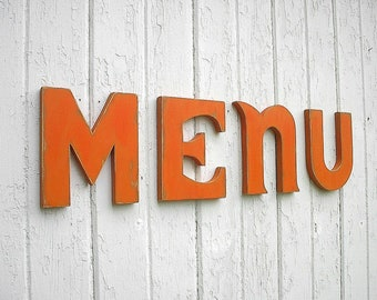 """Shabby chic Wooden 12 inch Big Letters """"menu"""" Kitchen Sign Wall Decor  Diner sign"""