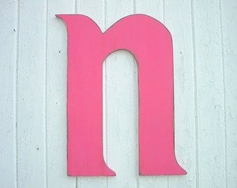 """Shabby chic wooden letters N 24"""" Rustic wall hanging wall decor"""