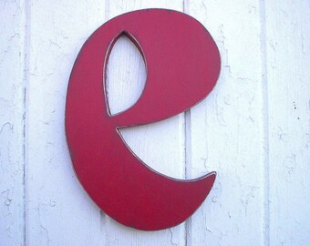 """Distressed Wooden Lowercase Letter """"e"""" Red 12 inch Vintage Style Font Kids Wall Art Wall Decor Shabby chic Red"""