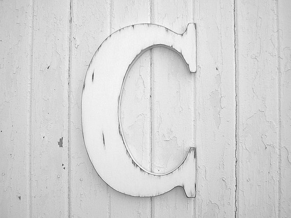 Letter C Wall Hanging Distressed Wooden Wall Hanging Letter C White Initial 18