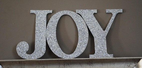 9 Silver Joy Sign Glitter Wall Letters
