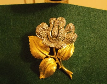 Vintage Trifari Silver and Gold Tone Flower Brooch