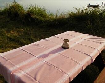 Vintage Danish Pink Cotton Table Cloth / Nordic Decor / Scandinavian Textiles / Table Ware / European / Denmark / Retro Home Decor / Design