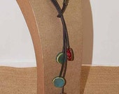 Cowgirls Western Lariat Necklace - Leather with Porcelain Beads & Antique Brass
