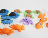 Fondant Assorted Sea Creatures 12 qty, turtle, starfish, crab, octopus, dory fish, nemo fish - Little Nemo, Little Mermaid, Under the sea