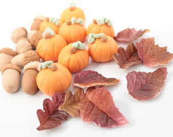 SALE! 20% off Fondant Bountiful Feast 12 qty Mini leaves, 12 qty Pumpkins,12 qty Acorns for Halloween, Thanksgiving