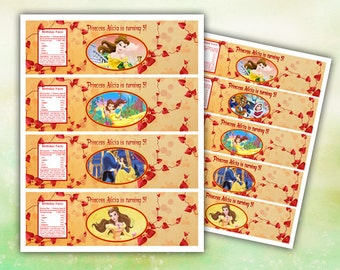 Belle (Beauty and the Beast) Water Bottle Labels Printable