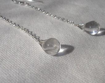 Glass raindrop earrings, sterling silver