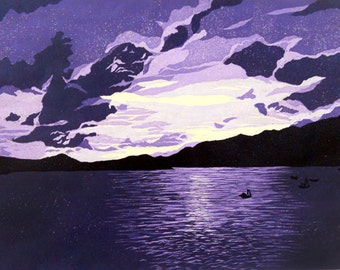 Sunset Over St. Thomas linocut relief print