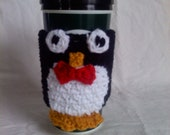 Penguin Travel Mug Cozy - crochet travel mug wrap - penguin with bowtie