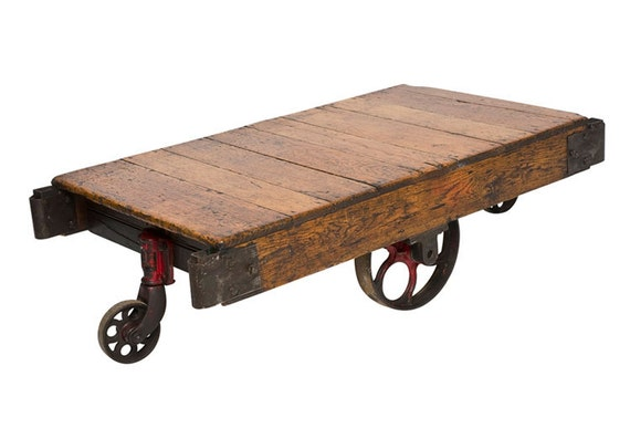 Vintage Oak Wood Factory Cart With Iron Wheels By