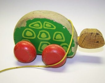 Turtle Pull Toy Wooden Pull Toy Vintage Wood Turtle
