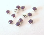Set of 12 Cyclamen Opal and Silver Plate, 4.6mm Swarovski Chaton Montees, purple rhinestones, 53201 Sew On Crystals, SS19