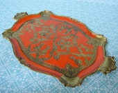 Vintage Orange and Gold Italian Plastic Serving Tray