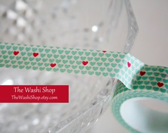 Mint and Red Hearts Washi Tape