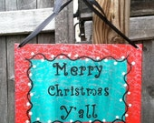 Merry Christmas Decoration Sign Handpainted Red and Green with Black Letters