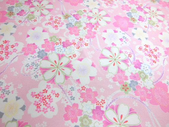 Kawaii cotton fabric  pink based gorgeous cherry blossoms pattern / width 51 cm length 6.5 meters