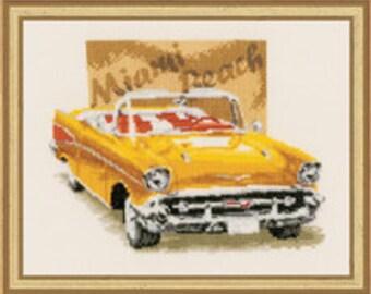 Cross Stitch Kit - Miami Beach Yellow Car