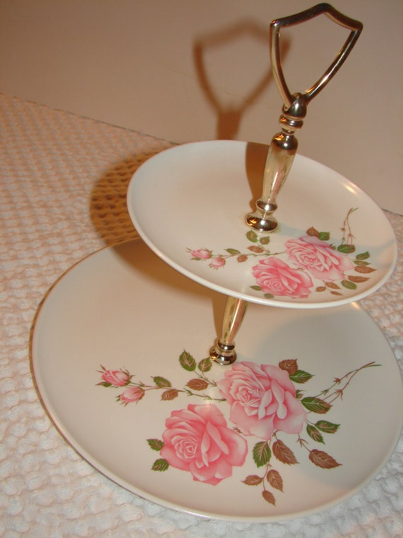 Reserved for Brandon -Melmac Melamine Cake Tray Server Shappy Chic Rose