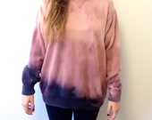 Hand-Dyed Bleached Cotton Sweater in Pink and Purple Ombre