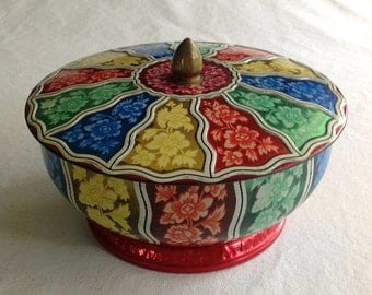 Vintage Daher Tin Lidded & Footed Bowl Made In England